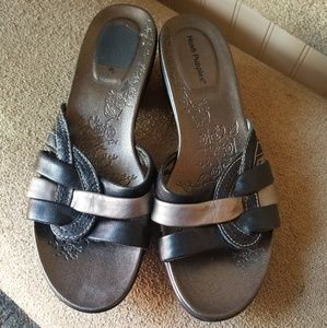 Hush Puppies sandals.  Size 7.  Black and silver